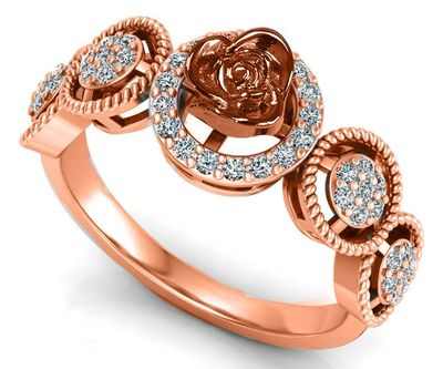 18K Rose Solid Gold Flower Ring, Promise Ring, Unique Engagement Ring with Side Diamonds, Floral ring, Birthday Gift For Her $970.00