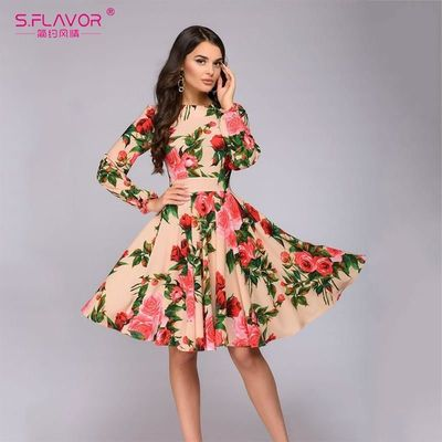 S.FLAVOR Women Long SLeeve Florl Print Dress Knee Length Casual A Line Dress Elegant Spring autumn Women Party Dresses Vestidos $16.49