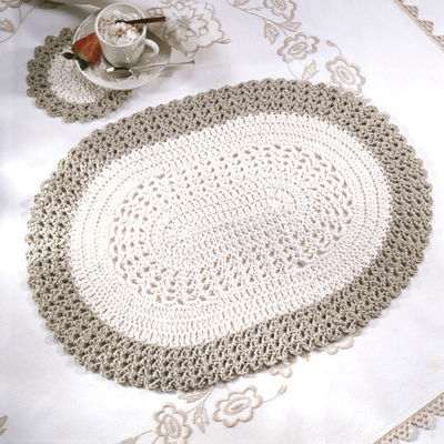RED HEART OVAL PLACEMAT & COASTER