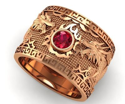 Father's day Father's day Golden Dragon Ring Wide Band Red Mens Ring Gift for Man Large Ring Ruby Engraved Heavy Mens Ring $3864.00