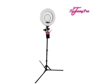 Tuscany Pro 14�€ LED Ring Light with Brush Holders, Cell Phone Holders & Mirror:  The Tuscany Pro makeup ring light features 432 dimmable LED lights, a power indicator, and 120-degree rotation. It also comes with a cell phone holder, brush hol...