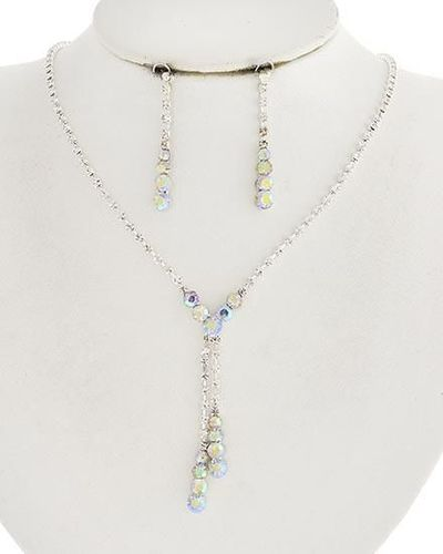 Vintage Style Silver Clear & AB Rhinestone Wedding Prom Necklace & Drop Earring Set $23.99