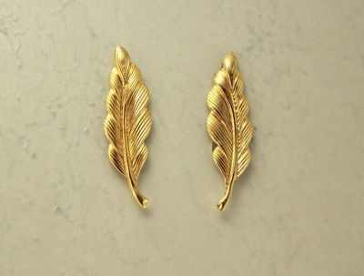 14 Karat Gold Plated Brass Feather Magnetic Clip Non Pierced Earrings $25.00 Designed by LauraWilson.com