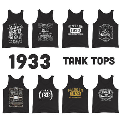 1933 Birthday Gift, Vintage Born in 1933 Tank tops for Women men, 87th Birthday shirt for him her, Made in 1933 Tanks, 87 Year Old Birthday $19.99