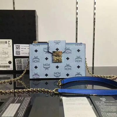 MCM Patricia Visetos Leather Chain Crossbody Bag In Washed Blue