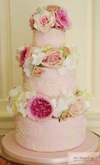 English Garden wedding cake in soft Pinks and Ivories with a touch of Green