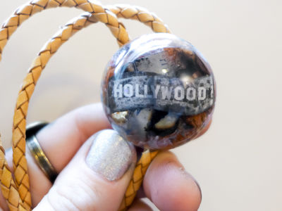 The Hollywood Handmade Bolo Tie - Resin Cast Collage - Movie Fans - Choker - Extra Long Cord - One Of A Kind Statement Piece - Clear Violet $35.00