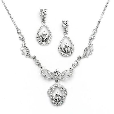 Vintage Glamour Austrian Crystal Necklace and Earrings Set - Antique Silver Plating Platinum $56.00