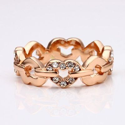 18K Rose Gold Plated Crystal Accent Heart Eternity Band Ring