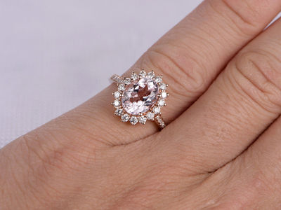 9X7MM OVAL CUT MORGANITE AND DIAMOND ENGAGEMENT RING 14K ROSE GOLD CLASSIC FLORAL HALO STACKING BAND