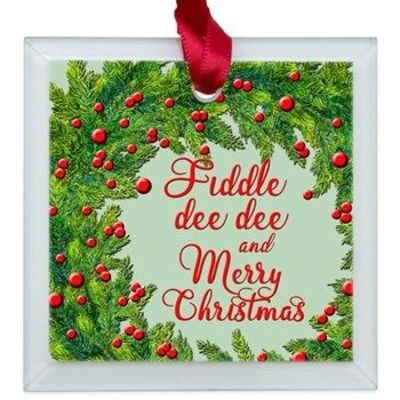 Fiddle dee dee and Merry Christmas Gone with the Wind Scarlett O;Hara holiday ornament