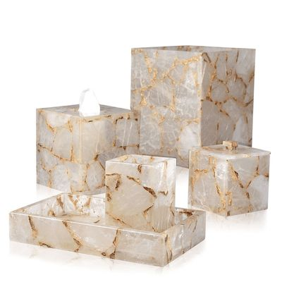 Taj Rock Crystal & Gold Bath Accessories by Mike + Ally $500.00
