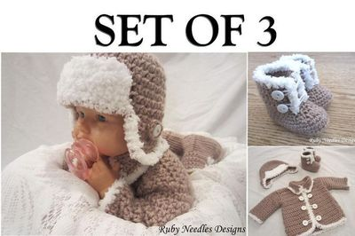 Set of 3! Fur boots, hat and sweater! - via
