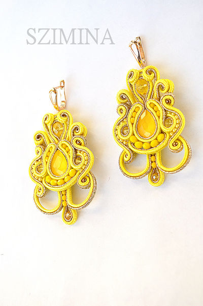 SALE 40 Yellow soutache earrings Filigree earrings Birthday gift ideas Fashion jewelry boho $37.00