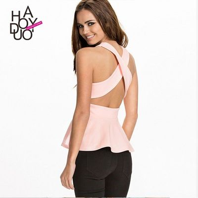 Sexy Sweet Open Back Slimming Crossed Straps Frilled Sleeveless Top - Bonny YZOZO Boutique Store