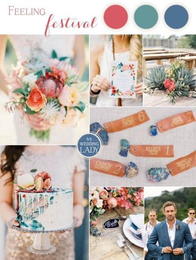 Looking for the perfect desert festival wedding inspiration? A combination of Southwestern colors, gold sequins, succulents, and raw gems make this bold palette