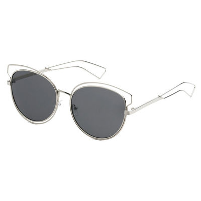 Mechaly Cat Eye Style Sunglasses with Silver Frame & Bla ...