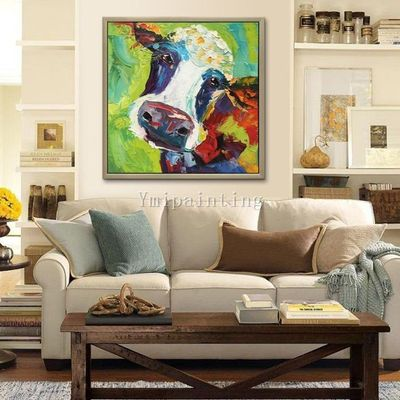 Cow paintings On Canvas art Farm animal painting Original oil painting impasto heavy texture palette knife framed Wall Art $69.00