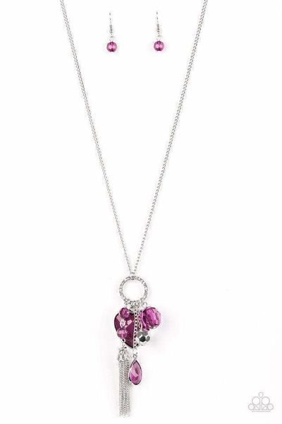 Paparazzi Haute Heartbreaker - Faceted Purple Gem Heart Charm Silver Necklace $5.00