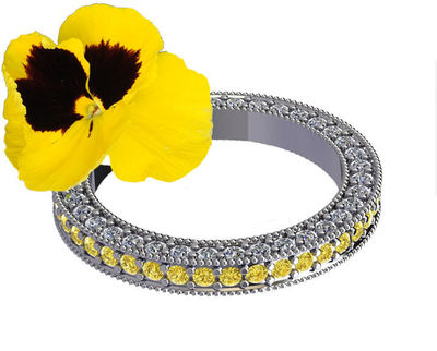 milgrain Eternity Wedding band Solid Gold ring Yellow Sapphire & Diamond ring Eternity Ring anniversary ring Anniversary Gift 115 stones $2227.00