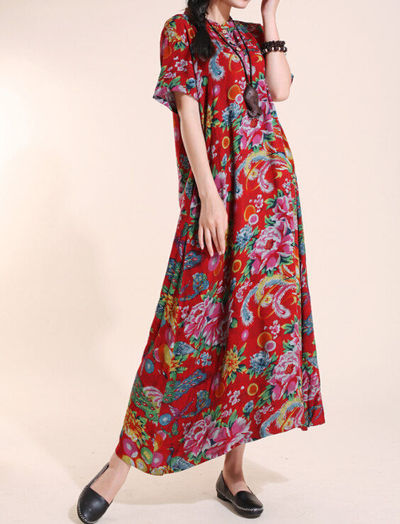 cotton Women Short sleeve dress/ Maxi dress/ Mini Long dress