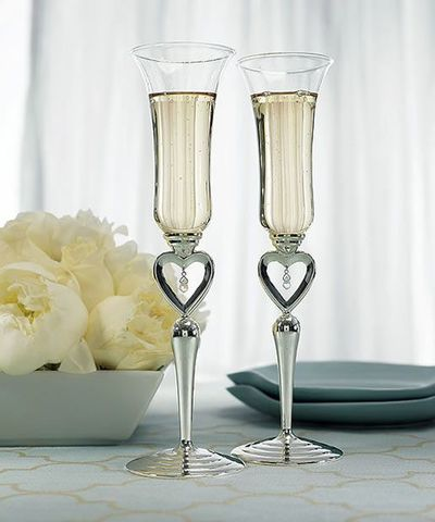 Silver Plated Open Heart & Jewel Drop Stem Champagne Flutes.