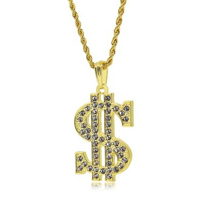 Gold Full Iced Out Bling Dollar Sign Pendant Hip Hop Rope Chain Necklace £2.38