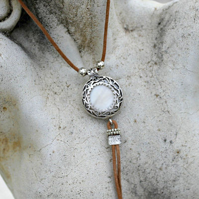 Bohemian Leather Tassel Necklace - Silver, Mother of Pearl, Rustic, Gift for Her