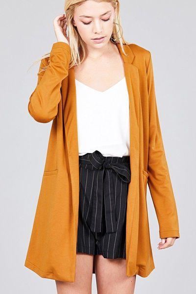 20% discount with BESTDEAL at checkout! Long Sleeve Notched Collar W/pocket Tunic Jacket $28.00