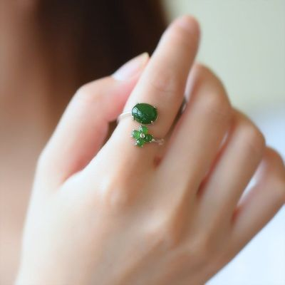 Rings for women - green jade opening ring - 925 silver ring - wedding anniversary ring - gift for wife - opening ring - jade ring silver