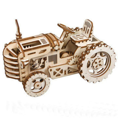DIY Wooden Mechanical Gears Kits 3D Tractor Puzzle Brain Teaser Executive Desk Toys Birthday Gifts