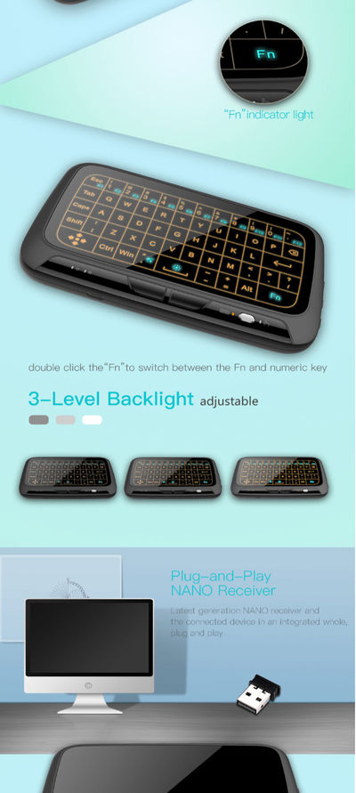 H18+ Wireless Air Mouse Mini Keyboard Full Screen Touch QWERTY Keyboard Touchpad With Backlight Function For Smart TV Black