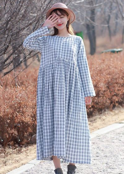 Women's long sleeves dress, Soft Dark blue and white grid Cotton Dress, handmade, Maxi Dresses, cotton dress handmade, cotton dress long