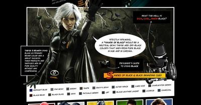 The blog post presents new Mysterious Black in Web Design Infographic stylized as animated comic book, providing comprehensive information on color usage and it