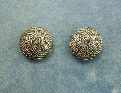 18 MM Magnetic or Pierced Metallic Silver Plastic Button Earrings $40.00 Designed by LauraWilson.com