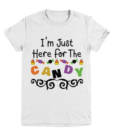 I'm Just Here For The Candy Halloween Light Youth T-Shirt $22.95