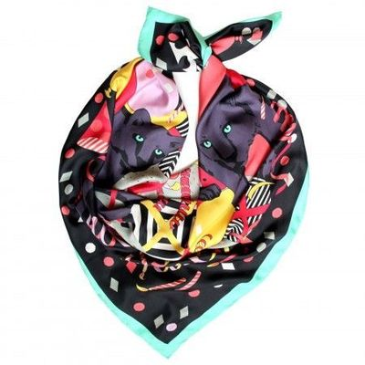 Panthers At A Party Silk Scarf