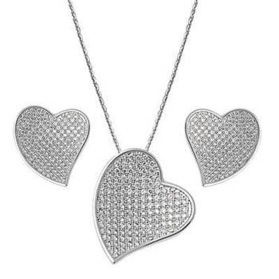 Forever Love Heart Pendant Necklace & Earring Set $111.00