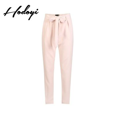 Vogue Sweet Bow Slimming High Waisted Pocket One Color Fall Casual Trouser - Bonny YZOZO Boutique Store