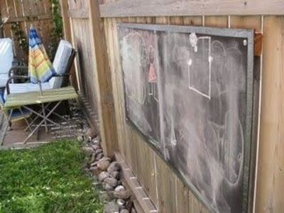 backyard chalkboard we have blackboard paint, lets do something with it