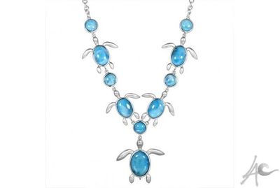 Honu Necklace (24 inch built in chain with 5x5 cm honu centerpiece / 58.1 grams) - Larimar Price: $799.99  0 reviews | Write a review