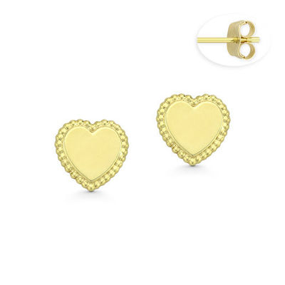 Flat Heart Charm w/ Ribbed Outline Stud Earrings with Push-Back Posts in 14k Yellow Gold - BD-ES039-14Y