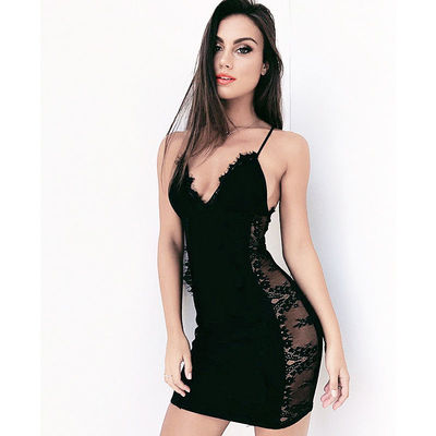 2017 Sexy Deep V Lace Strap Open Back Black Club Bandage Party Dress