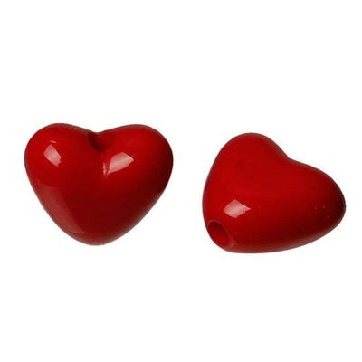 Pack of 200 Red Heart Acrylic Beads. 11mm x 10mm with 1mm Hole. For Valentine's Gift, Earrings, Necklace, Bracelet, Macrame and Craft £4.59
