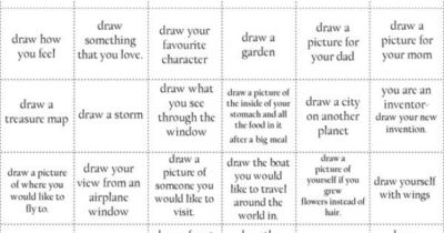 50 drawing prompts - have kids pick one out of a    / school
