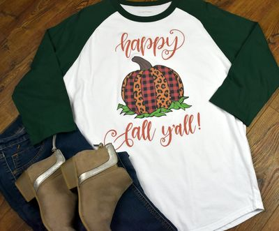 Women's Raglan Shirt - Pumpkin Happy Fall Y'all $24.99