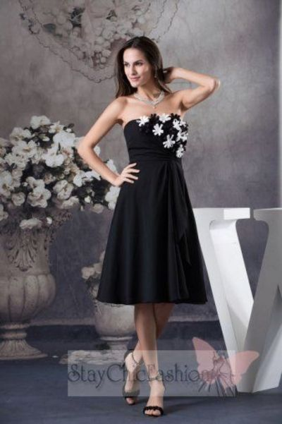 Floral Accent Top Black Short Homecoming Dress