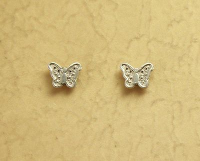 7 x 5 mm Tiny Butterfly Silver Magnetic Clip Earrings $20.00 Designed by LauraWilson.com