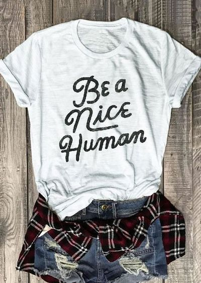 Be A Nice Human t-shirt triblend Unisex Unbasic Tee Funny graphic t shirt Red Wine 90s women fashion tshirt goth style gift tops $24.52