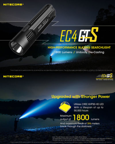 NITECORE EC4GTS XHP35 HD 1800LM 8Modes Unibody Compact Long Thow Searching 18650 Flashlight